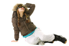 Snowboarder woman looking up Royalty Free Stock Photos