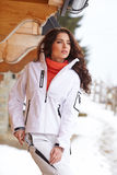 Snowboarder woman outdoors. Winter resort Royalty Free Stock Image