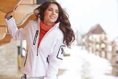 Snowboarder woman outdoors. Winter resort Royalty Free Stock Photography
