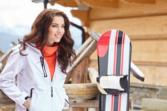 Snowboarder woman outdoors. Winter resort Royalty Free Stock Images