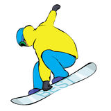 Snowboarder in yellow. Extreme trick royalty free illustration
