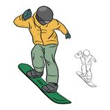 Snowboarder with yellow jacket and helmet vector illustration sk stock photo