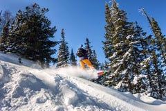 Snowboarderen hoppar i backcountry freeride för snöpulver den kiting floden skidar snöig sportvinter Arkivbild