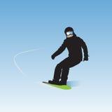 Snowboarderen på nedstigning vektor illustrationer