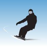 Snowboarderen på nedstigning stock illustrationer