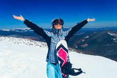Snowboarderflicka Arkivfoton