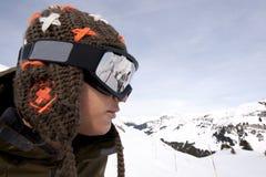Snowboardergesicht, Alpen, Arêches Lizenzfreie Stockfotos