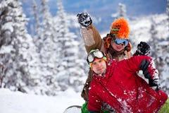 snowboarderlag Royaltyfria Bilder