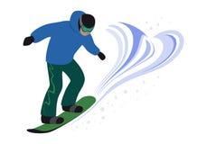 Snowboardermannreiten und -sprung Snowboardingfreistil lizenzfreie abbildung