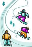 snowboarders κινούμενων σχεδίων Στοκ Φωτογραφίες