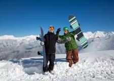 Snowboarders в горах Стоковое Изображение RF