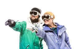 Snowboarders в стеклах сноубординга Стоковая Фотография RF