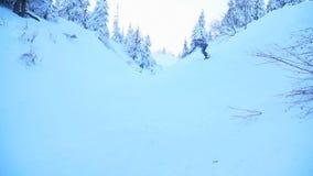Snowboarders имеют потеху на покрытом снег наклоне в лесе видеоматериал