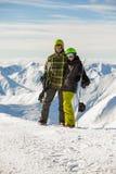 snowboarders пар удачливейшие Стоковые Изображения RF
