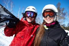 snowboarders пар Стоковые Фотографии RF