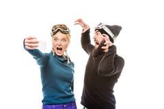 Snowboarders принимая selfie Стоковое Изображение RF
