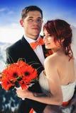 Snowboarders свадьбы соединяют как раз пожененный на зиме горы Стоковые Фотографии RF