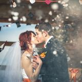 Snowboarders свадьбы соединяют как раз пожененный на зиме горы Стоковая Фотография
