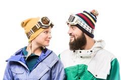 Snowboarders смотря один другого Стоковое Изображение RF