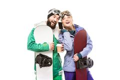 Snowboarders с smartphone и кофе, который нужно пойти Стоковая Фотография RF