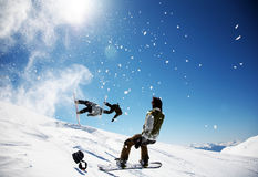 Snowboarders fotos de stock royalty free