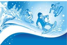 Snowboarders in actie Royalty-vrije Stock Fotografie