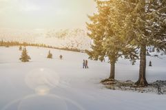 Snowboarders in the Carpathian Mountains in Romania royalty free stock photography