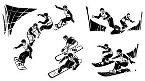 Snowboarders compete in parallel slalom. Illustration by snowboard cross. Hand drawn illustration. Isolated over white background Stock Photos