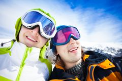 Snowboarders couple Stock Image