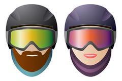 Snowboarders de la vista delantera, del hombre y de la mujer, vidrios clásicos Fotografía de archivo