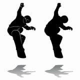 Snowboarders della siluetta Illustrazione di vettore Immagini Stock Libere da Diritti