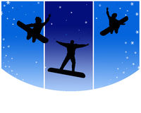 Snowboarders felizes Imagem de Stock