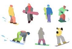 Snowboarders flat set Stock Photography