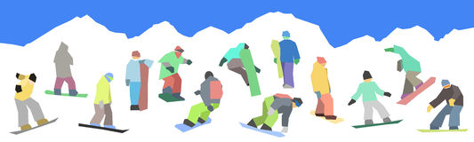Snowboarders flat set Royalty Free Stock Photography