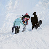 Snowboarders in the mountains Royalty Free Stock Photos