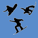 3 snowboarders outlines on a white background Stock Photography