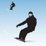 Snowboarders på nedstigning stock illustrationer