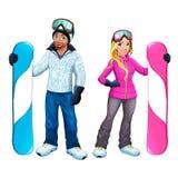 Snowboarders pojke och flicka Arkivbilder