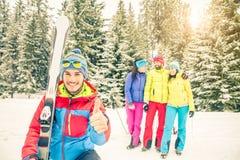 Snowboarders que toman el selfie Fotografía de archivo