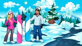 Snowboarders ragazzo e ragazza sulla montagna Immagine Stock