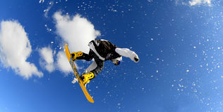 Snowboarders in ras Stock Foto's