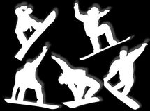 Snowboarders silhouettes Royalty Free Stock Image