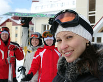 Snowboarders and skiers Stock Image