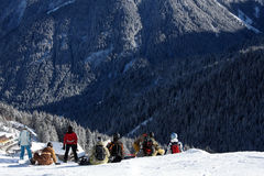 Snowboarders at start Stock Image
