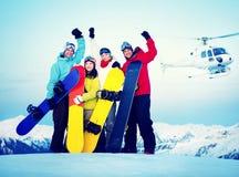 Snowboarders Success Sport Friendship Snowboarding Concept Stock Image