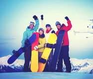 Snowboarders Success Sport Friendship Snowboarding Concept Royalty Free Stock Photos