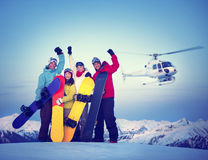 Snowboarders Success Sport Friendship Snowboarding Stock Images