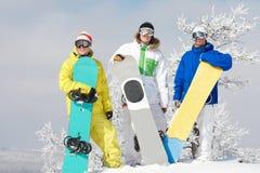 snowboarders tre royaltyfria bilder