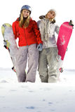 Snowboarders van vrienden Stock Fotografie