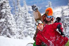 Snowboarderteam Lizenzfreie Stockbilder